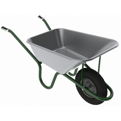 Heavy Duty 120L Galvanised Barrow with Solid Wheel